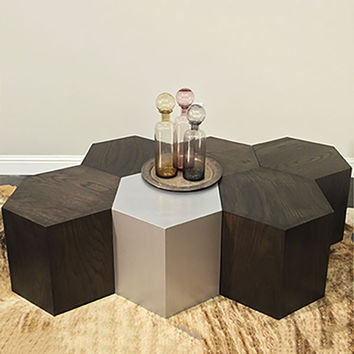 Hexagon Wood Modern Geometric Table- Black Dyed