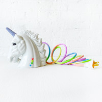Odyssia the Unicorn Night Light with Rainbow Textile Cord