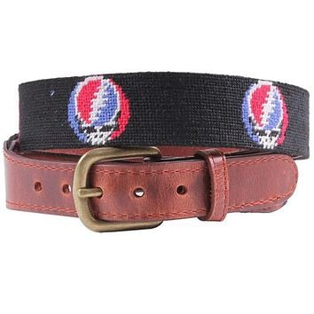 Steal Your Face Needlepoint Belt in Black by Smathers & Branson