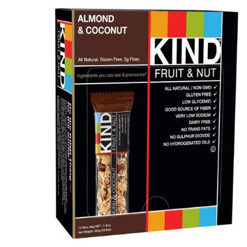 KIND Bars, Almond & Coconut, Gluten Free, 1.4 Ounce Bars, 12 Count