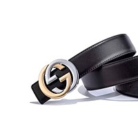 GUCCI tide brand men and women simple retro wild smooth buckle belt