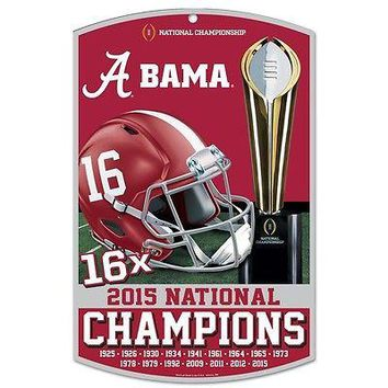 """ALABAMA CRIMSON TIDE 2015 NATIONAL CHAMPS 16X CHAMPS WOOD SIGN 11""""X17'' WINCRAFT"""