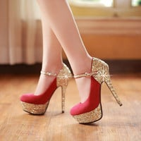 Fashionable Elegant Sequins Wedding High Heels Bride Shoes