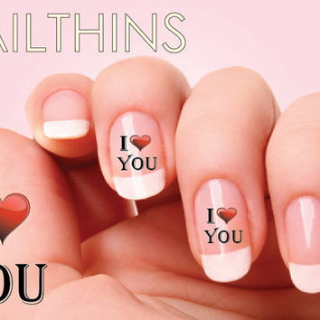 25 I Love You  I Heart You Nail Decal Nail Art  Valentine heart Nail Design