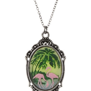 Kitsch Flamingos Framed Cameo Pendant Necklace