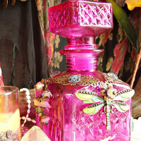 Hot Pink Glass Embellished spell bottle - DRAGONFLY - Altar decor - Altered art - Ritual tool -  Pagan Wicca - by White Raven Designs