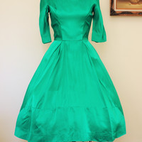 Vintage 1950s Lorrie Deb Party Dress, Emerald Green Satin