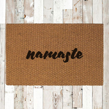 Namaste Hand Painted Coir Doormat, Decorative Area Rug, Welcome Mat Housewarming Gift