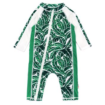 """Sunsuit - Long Sleeve Romper Swimsuit with UV 50+ UV Sun Protection   """"Palm Leaf"""""""