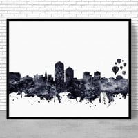 Albuquerque Art Print, Albuquerque Skyline, Albuquerque New Mexico, Office Decor, Office Art, Watercolor City Print, ArtPrintZone