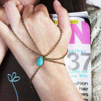 Slave Bracelet Hand Piece Single Bronze Chain Turquoise Stone Thumb and Ring Finger Boho Hipster  Bohemian