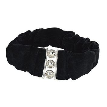 Velvet Torah belt with buckle closure.