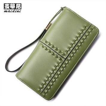 New Design Women Clutch Bags 2017 Fashion Long Weave Female Wallets Leather Card Holder Purse Wallet Brand Designer Lady Purses