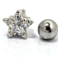 Lovely star zircon earrings Stainless steel antiallergic tragus Earring body jewelry -0428-Gifts box