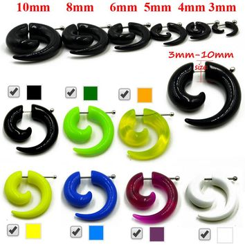 Acrylic Cheater Spiral Ear Taper Stretcher Expanders Gauge One Pair Seven Colors