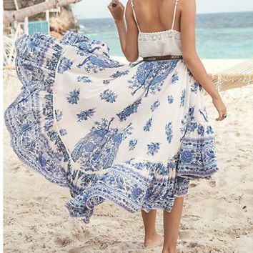 "Boho Long Skirt ""Hotel Paradiso"" Plus Size Blue And White Midi Maxi Bohemian Peacock Print Size XXL or 2X"