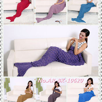 Free Shipping new pattern Super Soft Hand Crocheted Mermaid Tail Blanket Sofa Blanket car blanket  ADULT 195X95cm