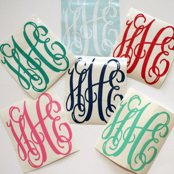 3 Initial Vine Interlocking Personalized Monogram Sticker Decal Assorted Sizes High Quality Vinyl