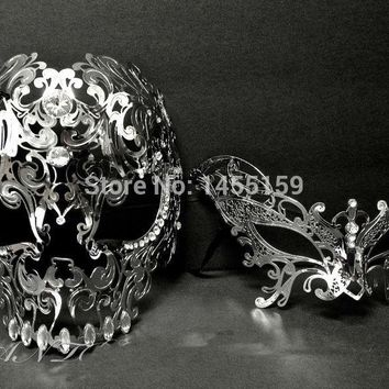 Silver Metal Skull Venetian Butterfly Masquerade Couple Masks Set The Beast and Beauty Prom Full Face Costume Party Mask Lot