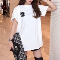 Moschino Loose Casual Pattern Letter Simple Fashion All-match T-Shirt
