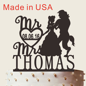 Beauty And Beast, Personalized Wedding Cake Topper With Name and Wedding date, Custom Name Cake Topper, Wedding Cake Topper CT060