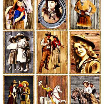 Western Cowboy Cowgirls horses country folk clip ART digital collage sheet 2.5 x 3.5 INCH images wall art rope frames wood backgrounds