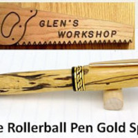 Rollerball Pen Handmade Gold Spalted Tamarind