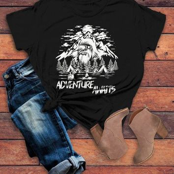 Women's Hipster T Shirt Yeti Shirts Bigfoot TShirt Adventure Awaits Camping Shirt Tent Camper Tee