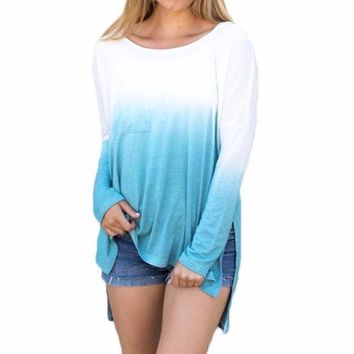 Women's White to Blue Ombre Tye Dyed High/Low Hem Long Sleeve T-Shirt Top