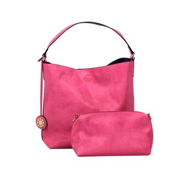 Reversible Faux Leather Tote in Fuschia/Purple with Inner Cross Body Pouch by Street Level - FINAL SALE
