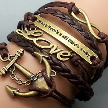 Infinity- Anchor -Love -Motto Bracelet Antique Bronze Brown Korean Wax Cords Brown Leather Adjustable Weave Bangle Personalized Jewelry