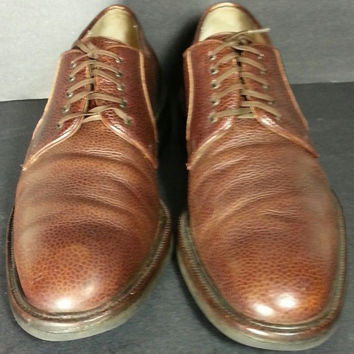 SALVATORE FERRAGAMO Brown Pebbled Leather Derby Shoes Men's Size 9.5