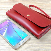 iPhone 6 Case, iPhone 6s Plus Case, Woman Leather Wallet With Wrist Strap, Red Phone Case, Minimalist, N448