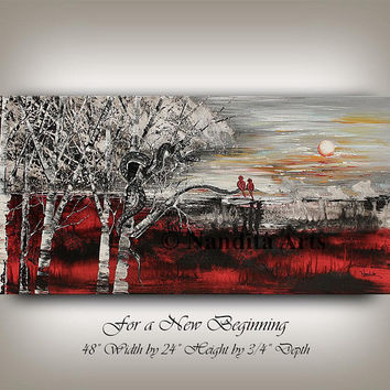 "LANDSCAPE Painting, Birch Tree Art Red Contemporary Art Original Bird Landscape art 48"" Sunsets Modern Wall Art Large Painting by Nandita"