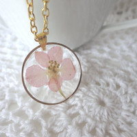 Pink  Jewelry,Real Flower Jewelry,Real Flower Necklace,Pink Necklace,real pressed  flower,UV resin