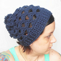 Navy Blue Crochet Lacy Slouch Hat, ready to ship.