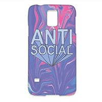 Plastic Phone Cover, Text Anti Social Tie Dye White For Samsung Galaxy S5 Case -Quindyshop