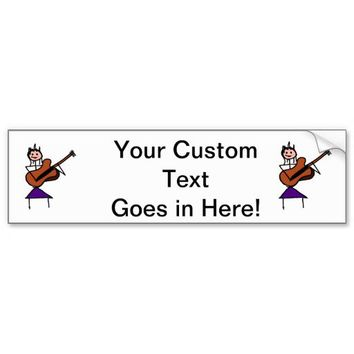 female guitar stick figure brown w pink face bumper sticker from Zazzle.com