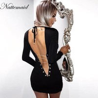 NATTEMAID 2018 Spring Summer Style Dress sexy Women O Neck Long Sleeve Backless Bodycon Slim Pencil Party Dresses black vestidos