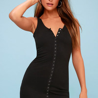 Snap It Up Black Ribbed Bodycon Dress
