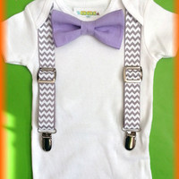Baby Boy Clothes - Lavender Bow Tie Grey Chevron Suspenders - Boys 1st Birthday Outfit  - Baby Suspender Outfit - Cute Baby Boy Gift