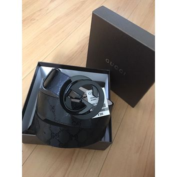 Gucci Belt Black Imprime Size 95/38 ( 32 - 34 ) 223891 FU49X / With Tags