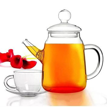 5-Piece Glass Teapot Teacups and Saucers Set