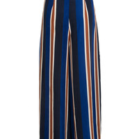 Blue Stripe Tie Waist Side Split Palazzo Pants