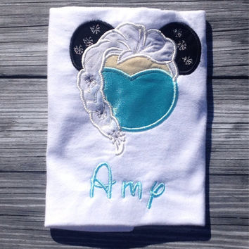 ice Queen Mouse Head Personalized Shirt or Onesuit. Frozen, Princess, Ice Queen. FREE SHIPPING