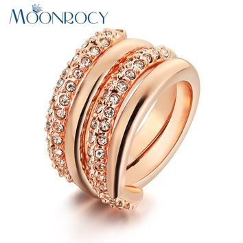 MOONROCY Rose Gold Color Free Shipping Cubic Zirconia Crystal Rings Fashion Jewelry Wholesale Party Rings for Women Gift