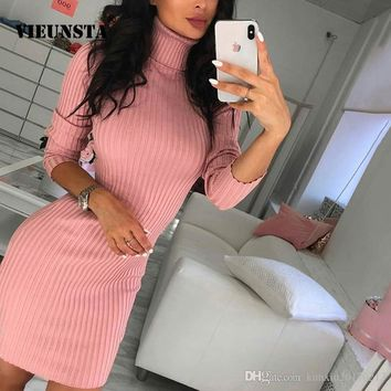 VIEUNSTA New Women Turtleneck Knit Rib Mini Dresses Autumn Winter Long Sleeve Warm Sweater Dress Sexy Elastic Slim Bodycon Dress