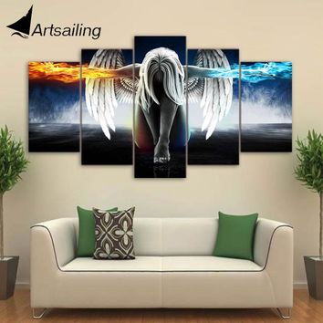 Artsailing 5 piece canvas art anime Angel Girl Wings Fire and Ice painting home decor print poster wall art Free shipping up-874