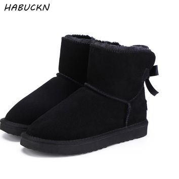 HABUCKN Fashionable Women Warm Snow Boots Winter Boots Genuine Cowhide Leather Women Boots Ankle Boots Fur  Shoes Size 34-44