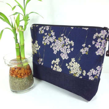 Gift For Her, Large Cosmetic Pouch, Kimono Cotton Pouch, Handmade Make-up Bag Japanese Kimono Cotton Fabric Cherry Blossoms Navy
